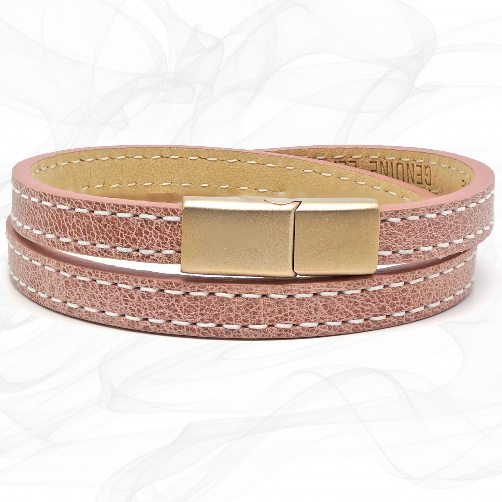 Girls lavender pink flat leather bracelet with a FROSTED Rose Gold Steel CLASP