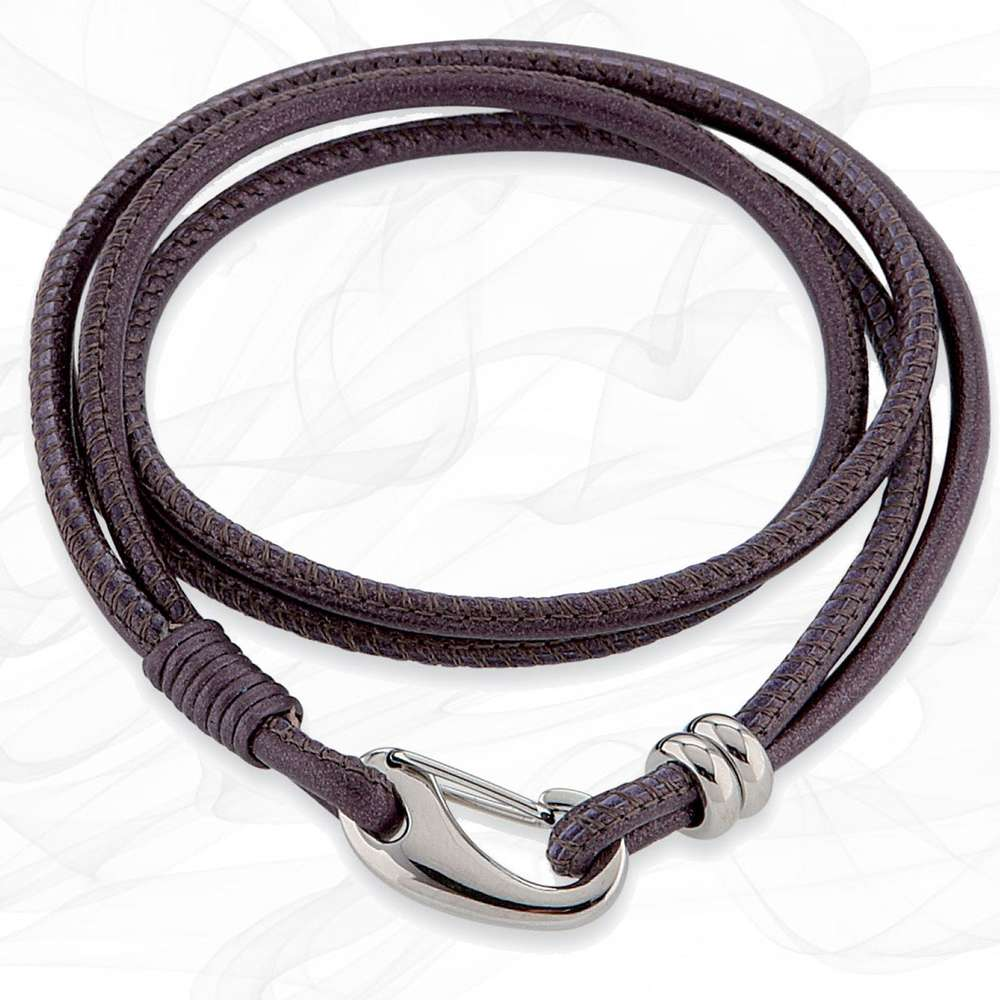 Simple smooth Berry Purple 3mm Nappa Double wrap Leather Bracelet for Women