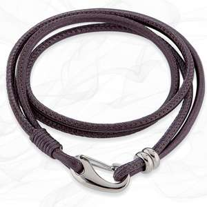Simple smooth Berry Purple 3mm Napa Double wrap Leather Bracelet for Women