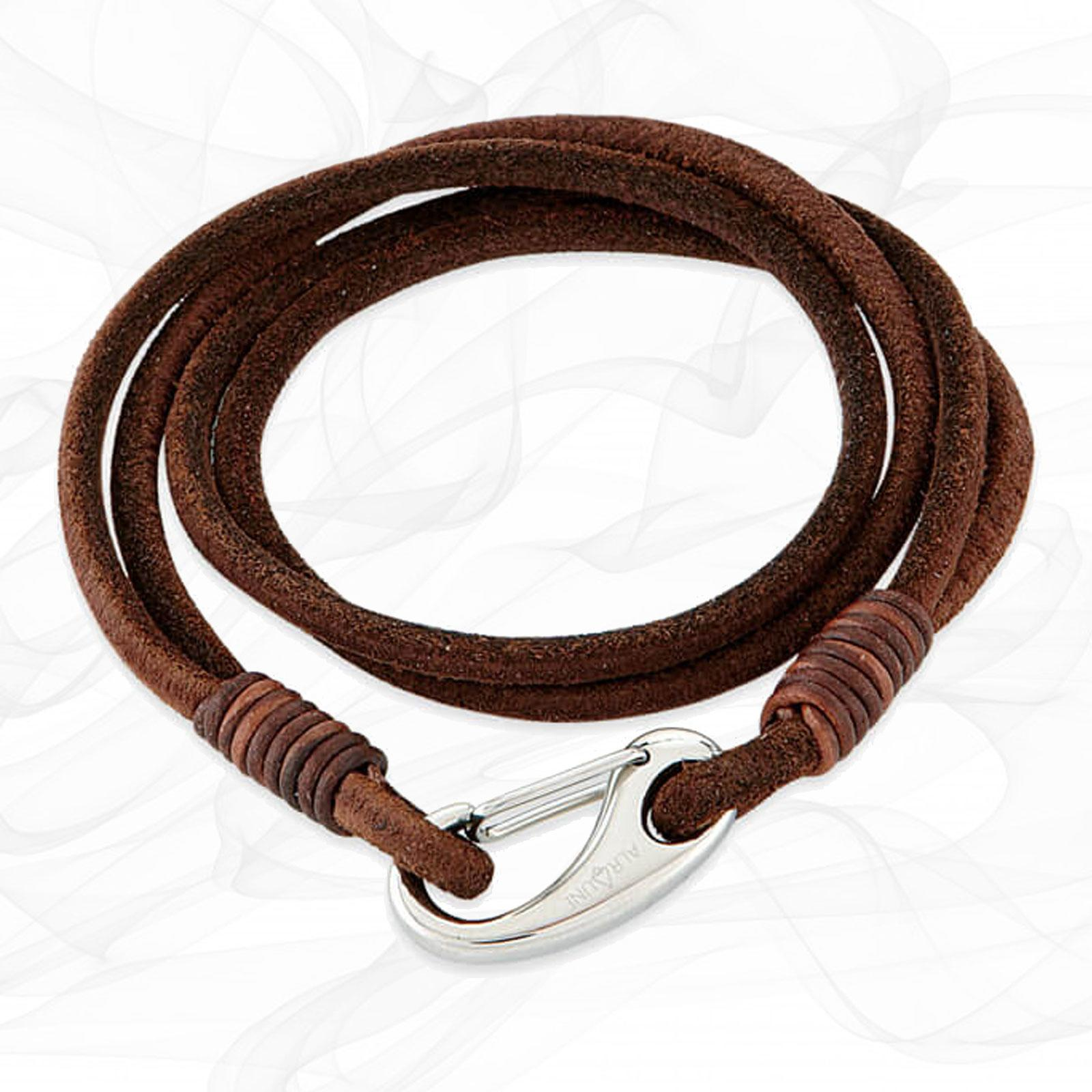Wild Brown Quad Wrap Suede Leather Bracelet with Steel Lobster Clasp by Alraune
