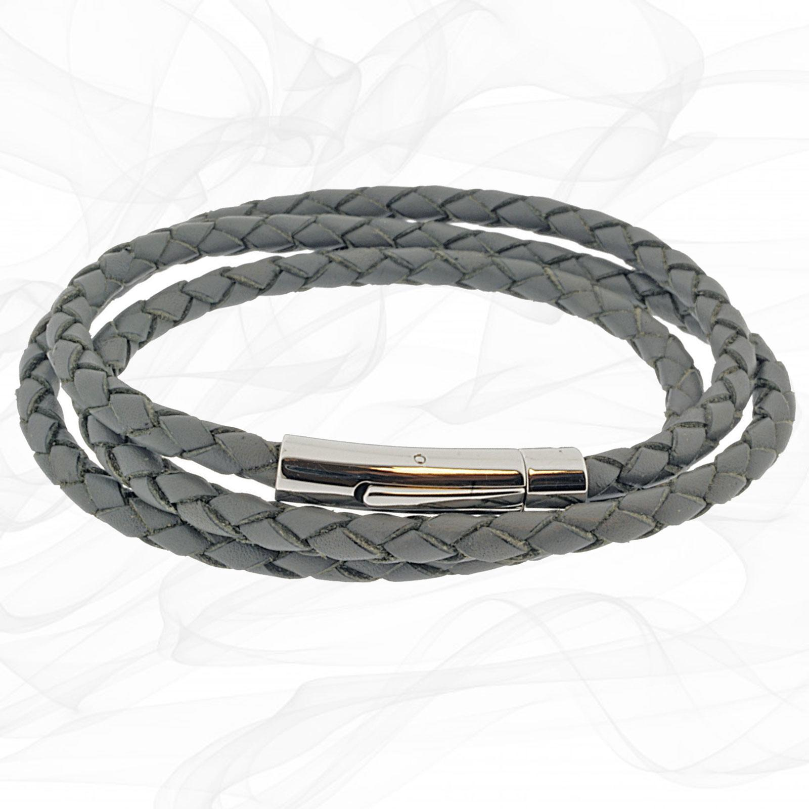 Grey GIRLS Triple Strand LEATHER BRACELET with Magnetic Clasp