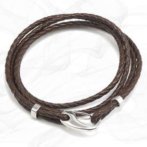 Brown Four Strap Bolo Leather Bracelet with a Petit Steel Lobster Clasp