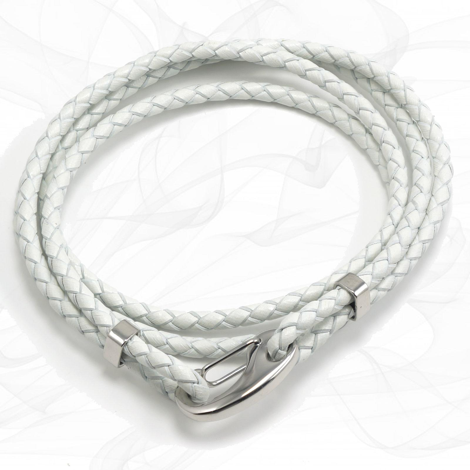 White Four Strap Bolo Leather Bracelet with a Petit Steel Lobster Clasp