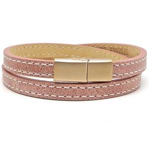 Rose Pink Personalised Initial ID Leather Bracelets for her