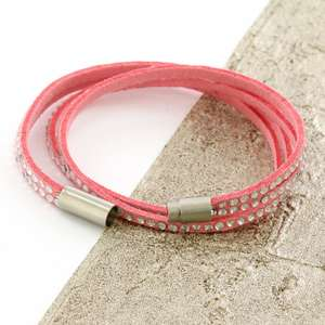Pink Womens Stacker Leather Beaded Bracelet, Multi Row Layer Stack Wristband