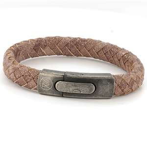 Mens Beige Leather Bracelet