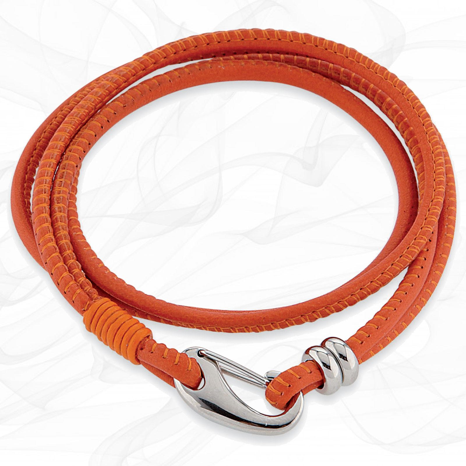 Simple smooth Orange 3mm Napa Quad wrap Leather Bracelet for Women