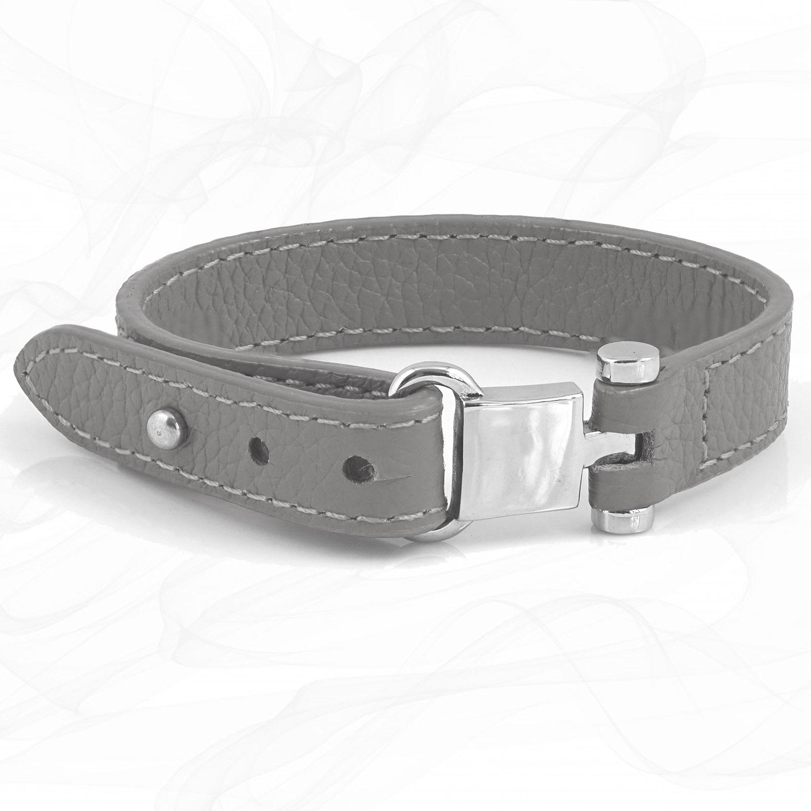 Grey Square Buckle Leather Wrap around Adjustable Bracelet