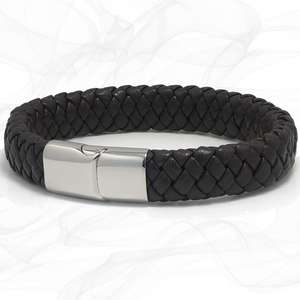 Mens Chunky Brown Lamb Leather Plaited Bracelet with a Silver Steel Sliding Magnetic Clasp.