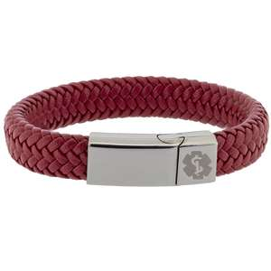 Red Leather Medical Alert ID Bracelet