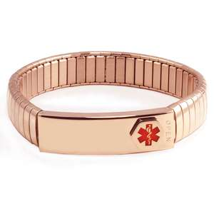 Stainless Steel Medical Alert ID Bracelet with pre-printed Waterproof Labels
