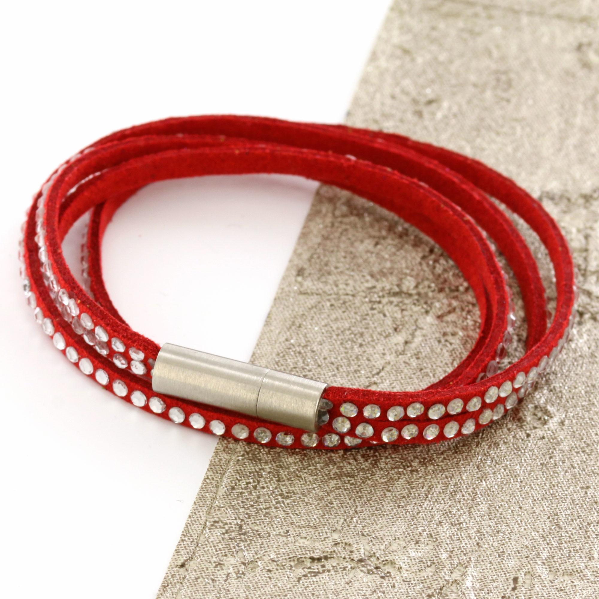 Red Womens Stacker Leather Beaded Bracelet, Multi Row Layer Stack Wristband