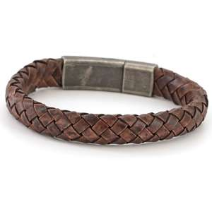 Mens Vintage Brown Leather Bracelet