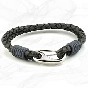 Grey Double Wrap Bolo Leather Bracelet with Steel Lobster Clasp by Tribal Steel