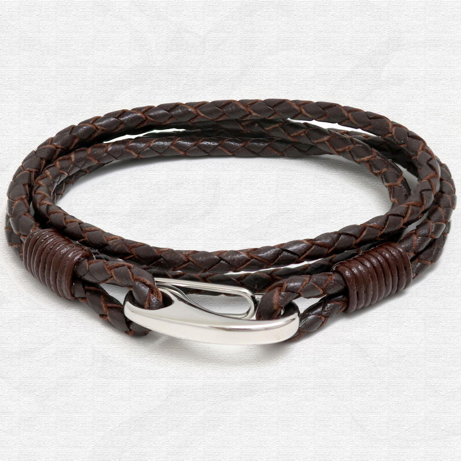 Brown Four Strap Bolo Leather Bracelet with Steel Lobster Clasp