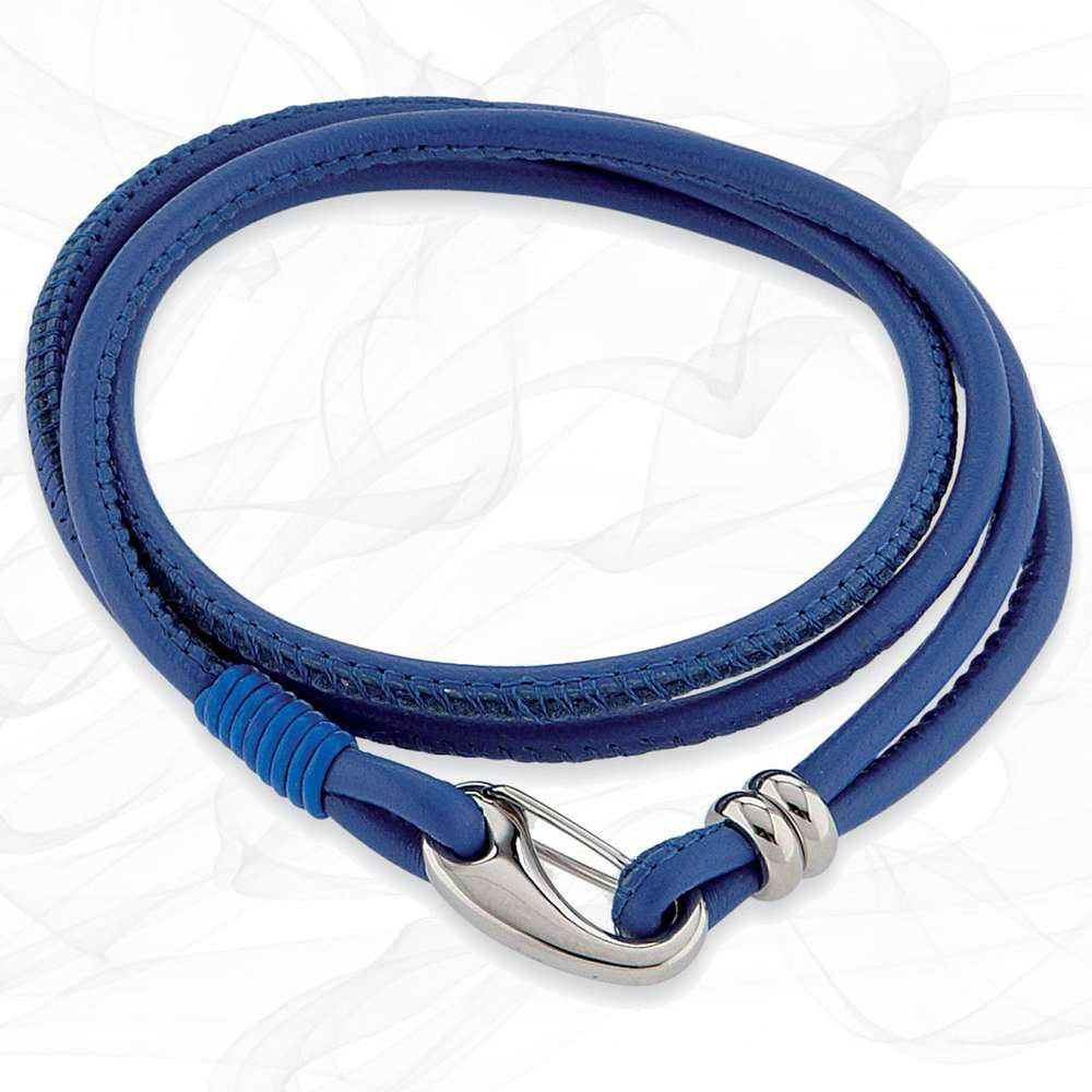 Simple smooth Blue 3mm Nappa Double wrap Leather Bracelet for Women