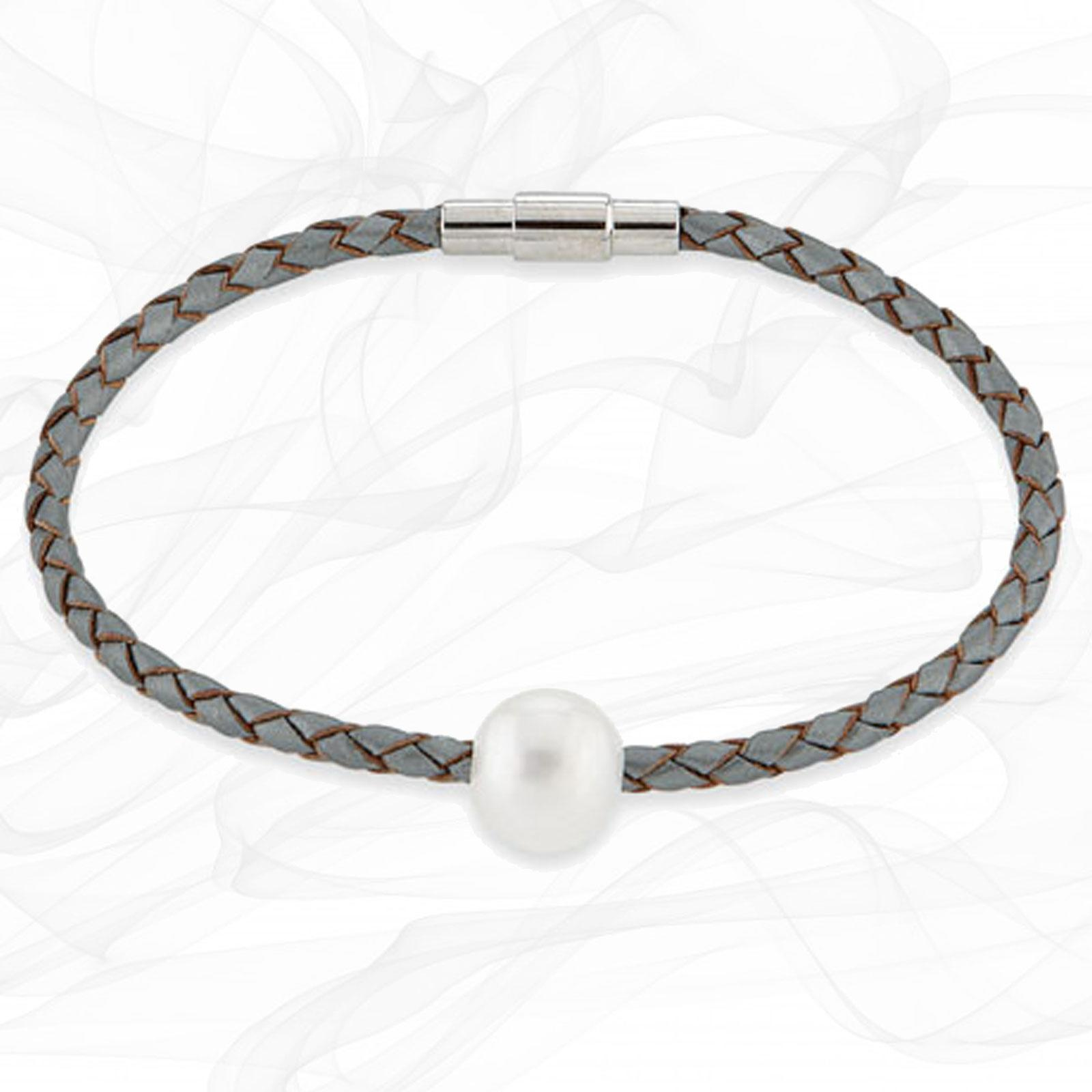 """SIENA"" STEEL GREY FRESH WATER CULTURED PEARL LEATHER BRACELET"