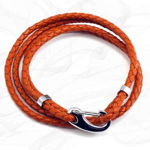 Orange Four Strap Bolo Leather Bracelet with a Petit Steel Lobster Clasp