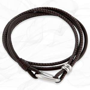 Simple smooth Dark Brown 3mm Nappa Double wrap Leather Bracelet for Women