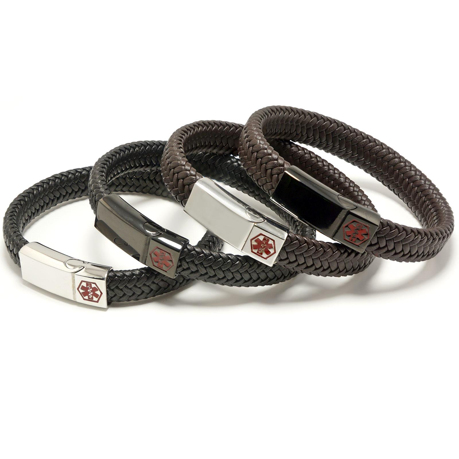 Wide Braided Leather Medical Alert ID Bracelet
