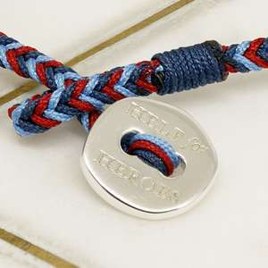 Official Help For Heroes Cord Bracelet for Women with a Sterling Silver Button Clasp.