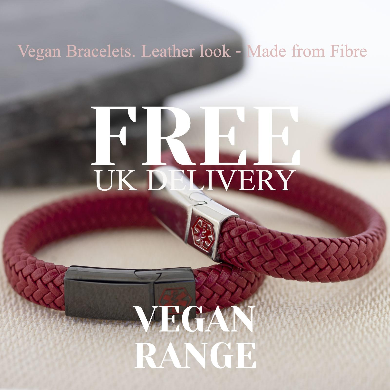 VEGAN 12mm Braided Leather Medical Alert ID Bracelet