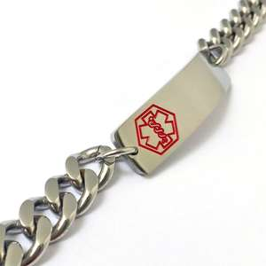 Red Medical Alert ID Steel Bracelet with any engraving included.