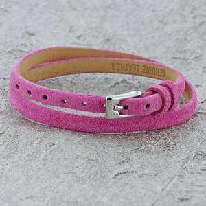 Pink Leather Bracelet with a buckle clasp and suitable for children and women