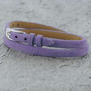 Lilac Leather Bracelet with a buckle clasp and suitable for children and women