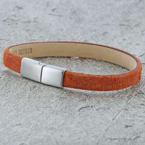 Orange suede leather bracelet for her by alraune
