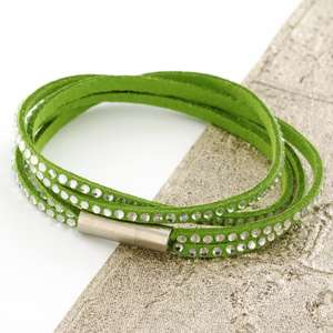 Green Womens Stacker Leather Beaded Bracelet, Multi Row Layer Stack Wristband