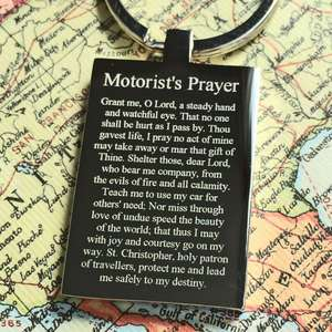 Mirror Polished Steel St Chrisopher Keyring with a prayer for Motorists
