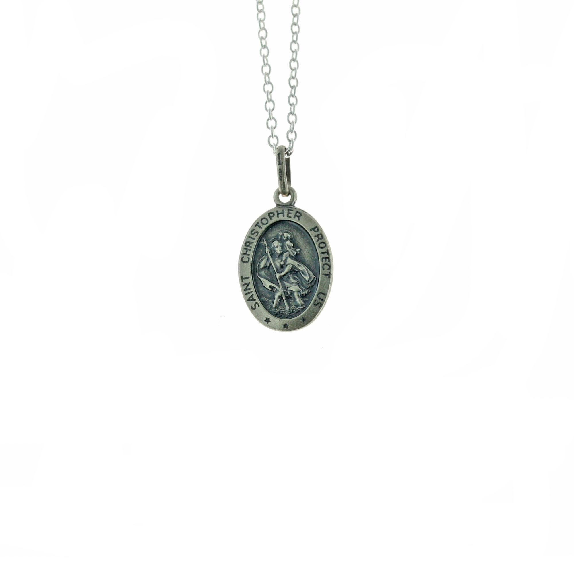 Oval Antique Sterling Silver St Christopher Medal with optional personalisation and Chain