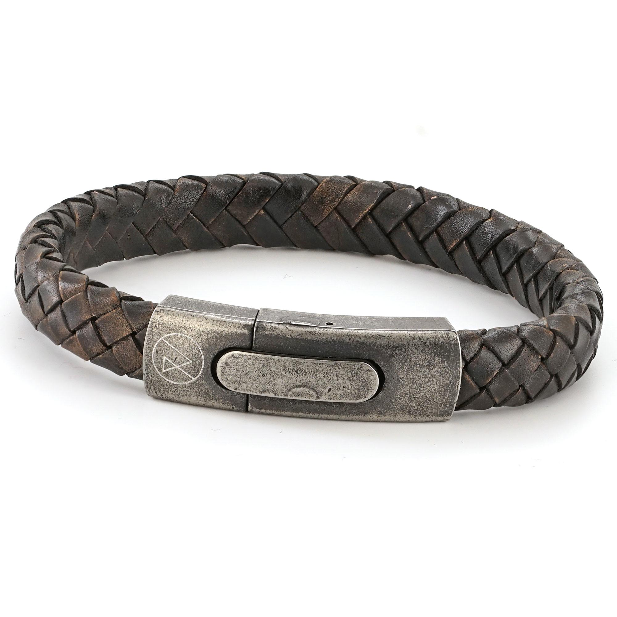 Mens Retro Brown Leather Bracelet