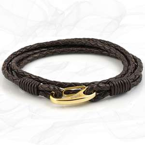 Mens Elegant Brown Quad Wrap Bolo Leather Bracelet with Gold Colored Steel Lobster Clasp by Tribal Steel