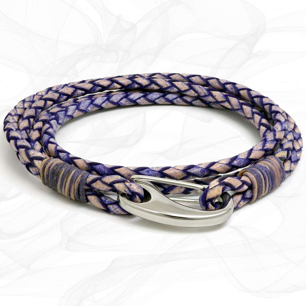 Violet Purple Quad Wrap Bolo Leather Bracelet with Steel Lobster Clasp by Tribal Steel