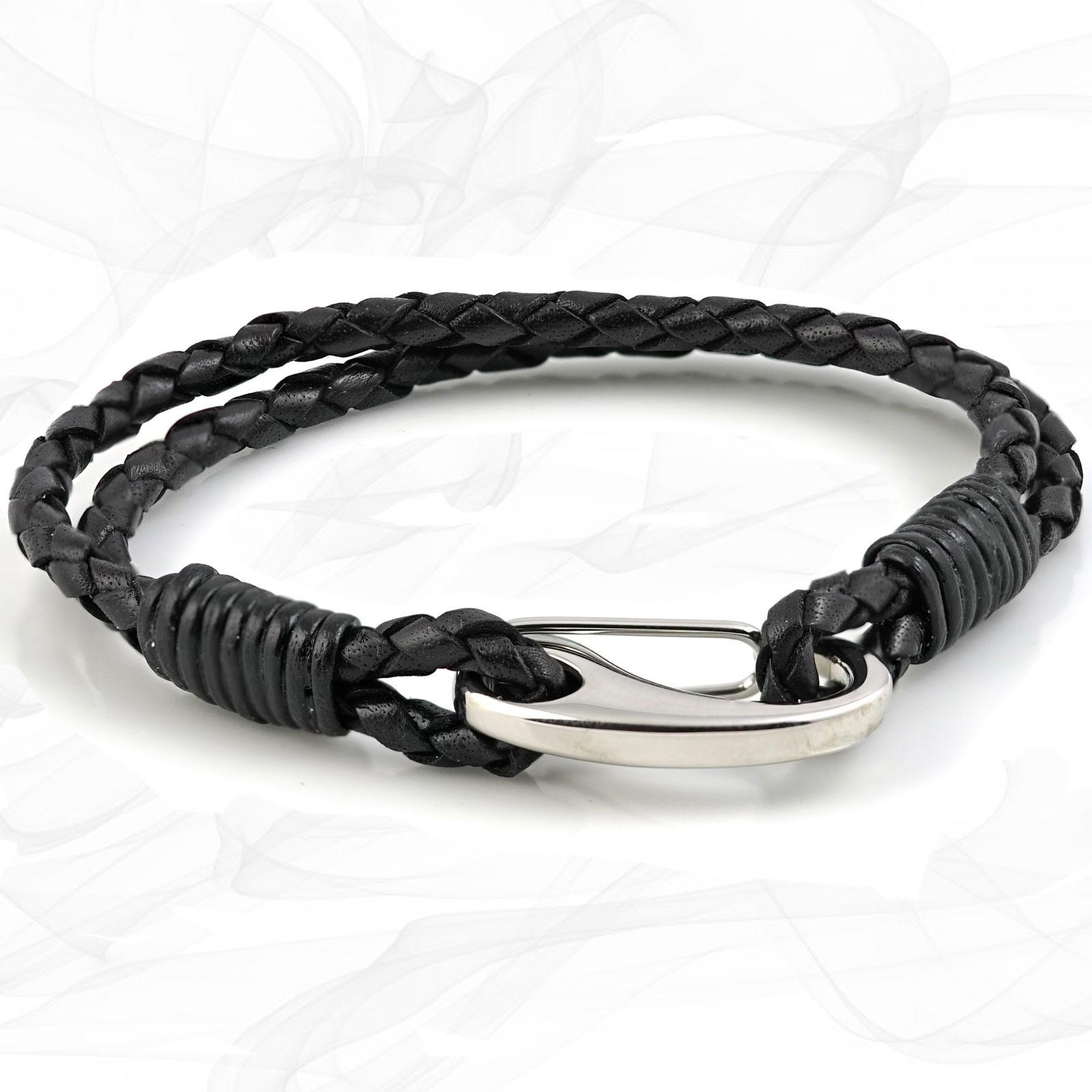 Black Double Wrap Bolo Leather Bracelet with Steel Lobster Clasp by Tribal Steel