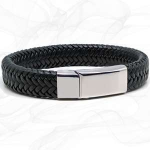 Wide Black Super Soft Premium Leather Bracelet with a Sliding Magnetic Clasp.