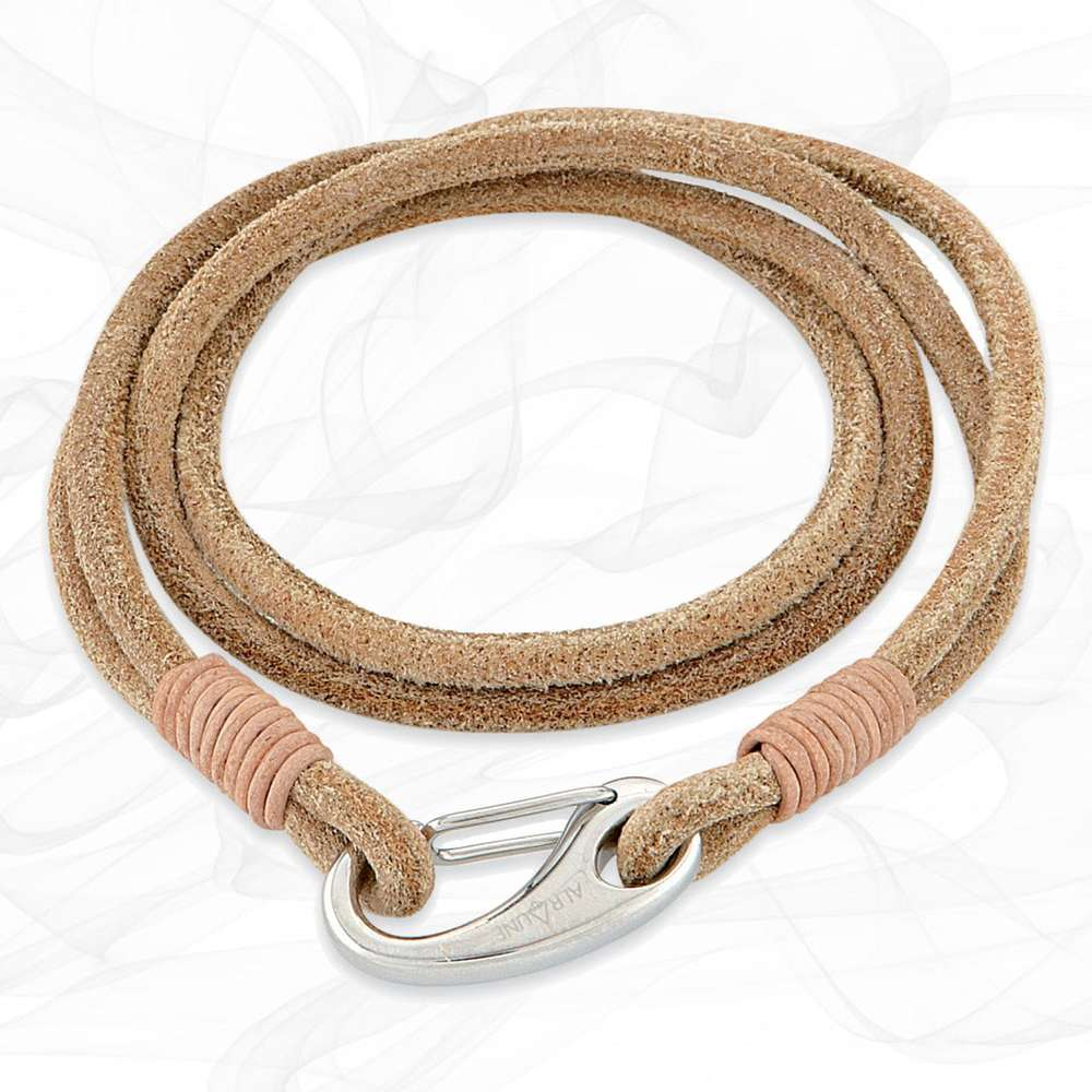 Sand Beige Quad Wrap Suede Leather Bracelet with Steel Lobster Clasp by Alraune