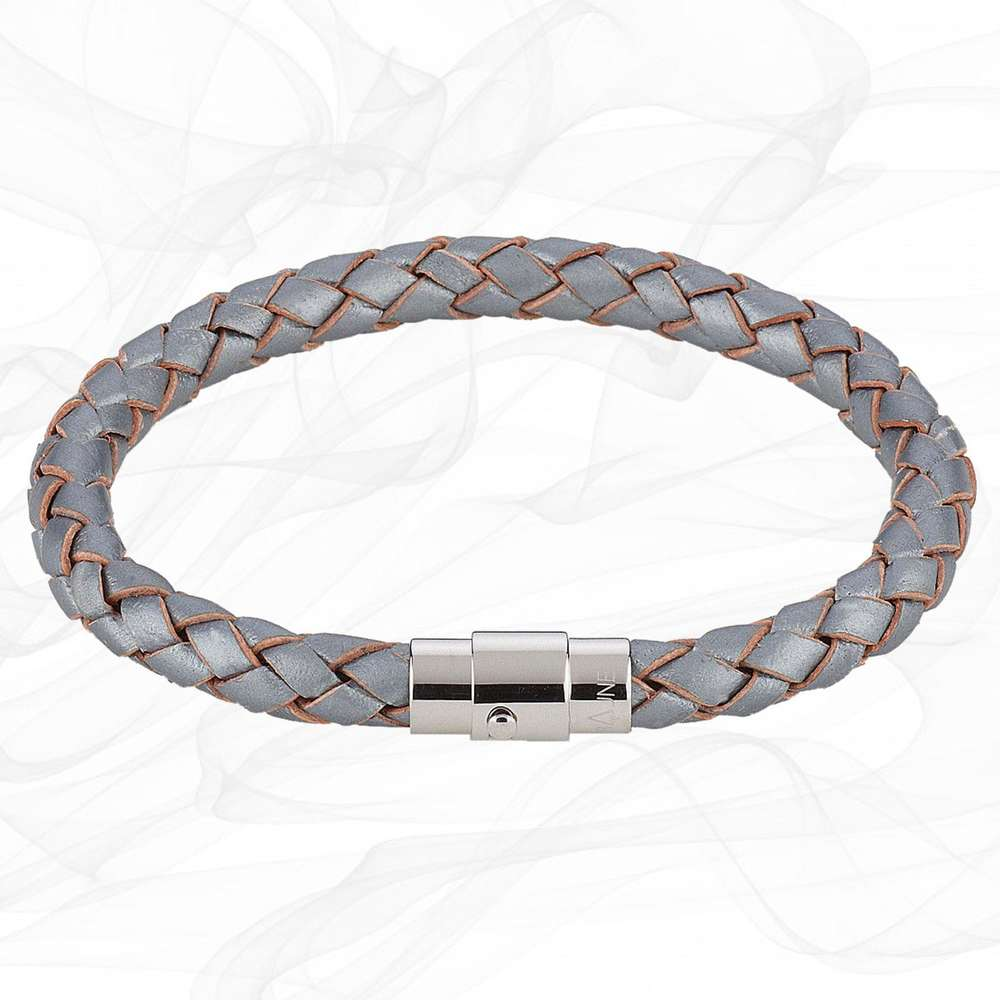Steel Grey SINGLE STRAND 19cm LEATHER BRACELET for Girls