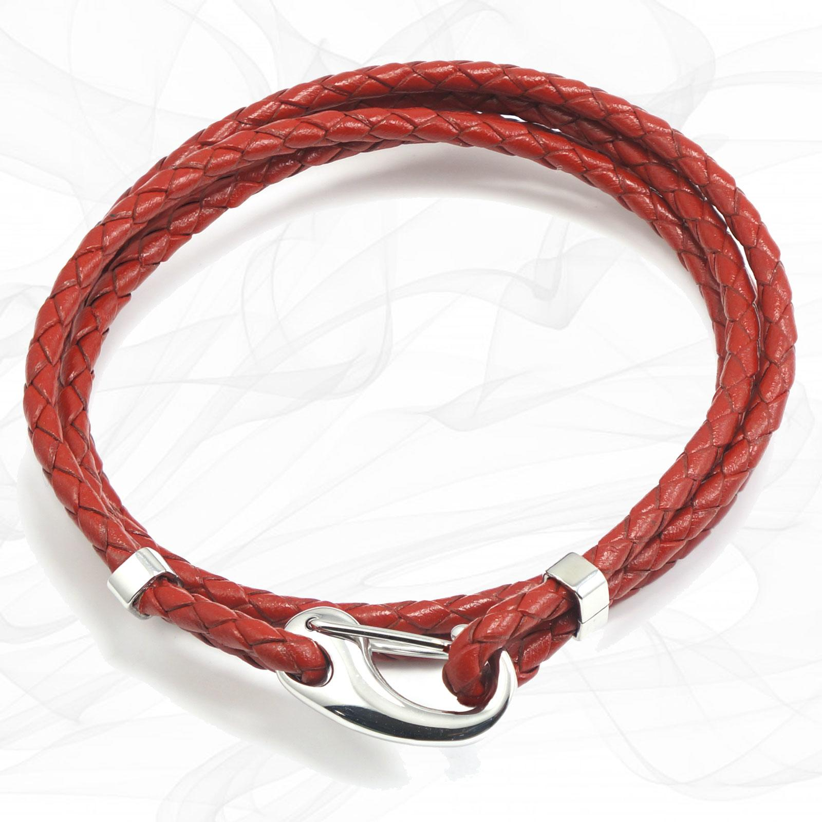 Red Two Strap Bolo Leather Bracelet with a Petit Steel Lobster Clasp