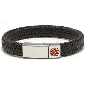 Brown Wide Braided Leather Medical Alert ID Bracelet