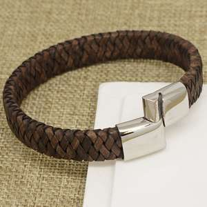 Mens Wide Vintage Brown Leather Bracelet