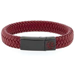 Red and Black VEGAN 12mm Braided Leather Medical Alert ID Bracelet