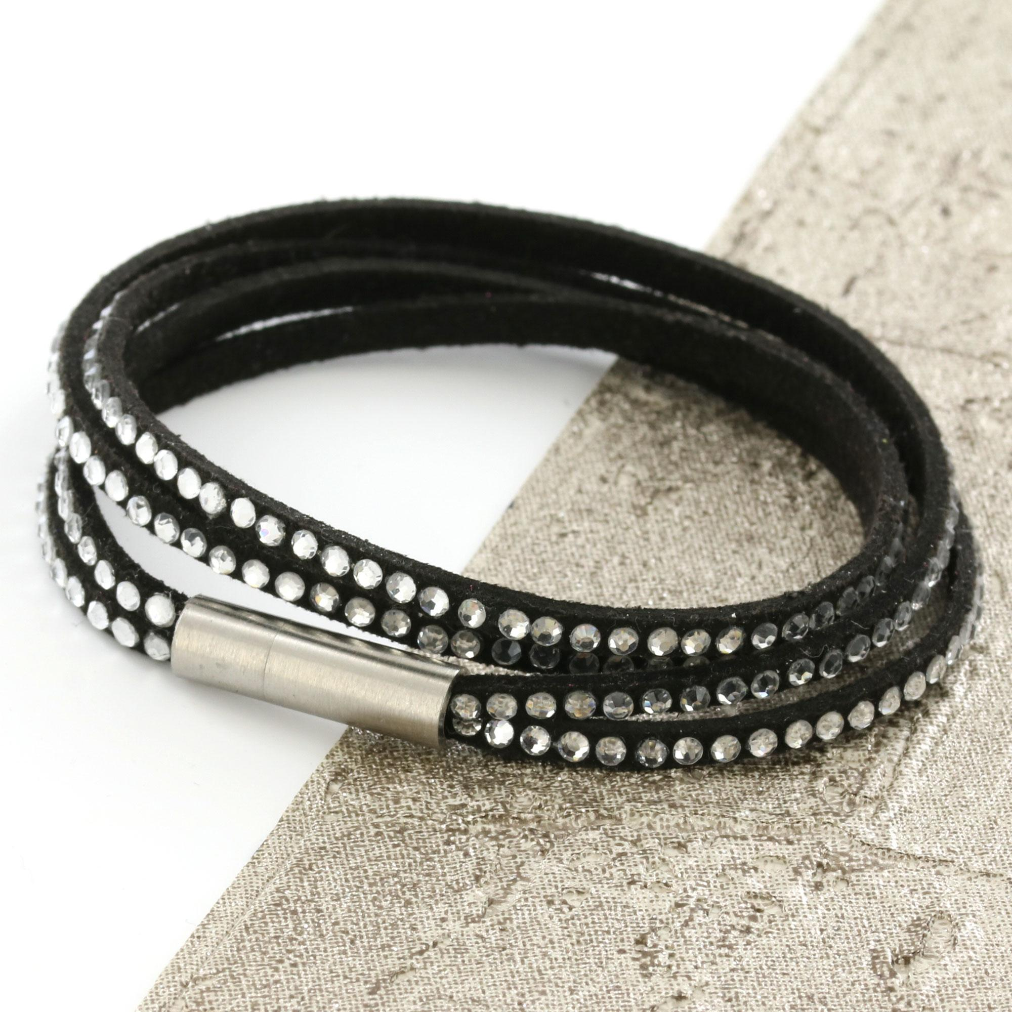 Black Womens Stacker Leather Beaded Bracelet, Multi Row Layer Stack Wristband