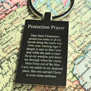 Mirror Polished Steel St Chrisopher Keyring with Protection Prayer