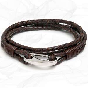 Brown Quad Wrap Bolo Leather Bracelet with Steel Lobster Clasp by Tribal Steel
