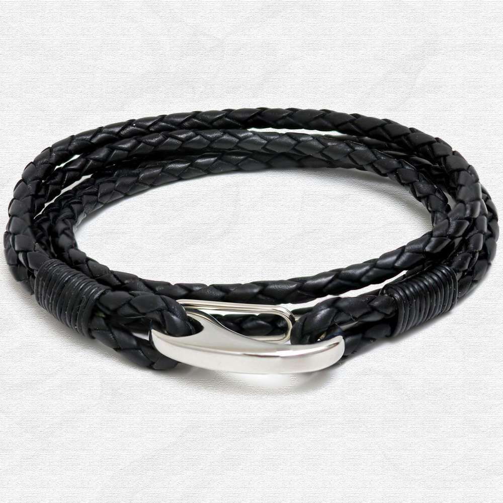 Black Four Strap Bolo Leather Bracelet with Steel Lobster Clasp