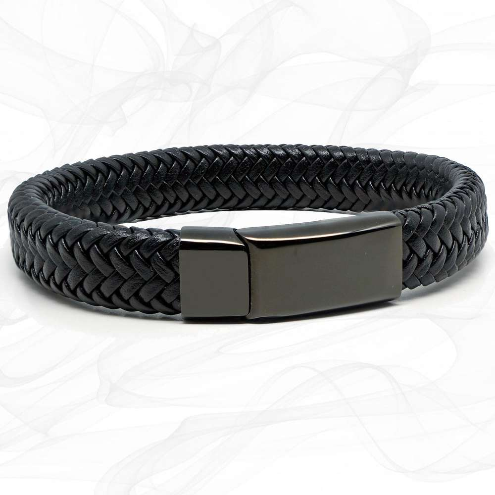 Wide Black Super Soft Premium Leather Bracelet with a Black Sliding Magnetic Clasp.