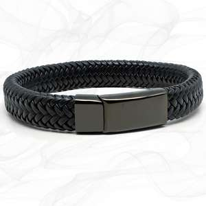Wide All Black Super Soft Premium Leather Bracelet with a Black Sliding Magnetic Clasp.
